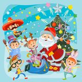 Kids Christmas carnival party illustration royalty free stock photos