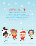 Kids With Christmas Costumes, kids in Christmas costume characters celebrate, Cute little christmas Children royalty free illustration