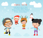 Kids With Christmas Costumes, kids in Christmas costume characters celebrate, Cute little christmas Children Stock Photos