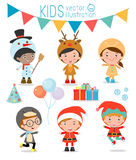 Kids With Christmas Costumes,Kids With Christmas Costumes set, Vector. Stock Images