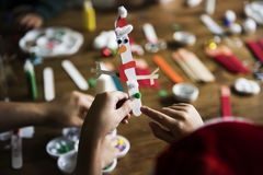 Kids Christmas DIY projects creative Stock Images