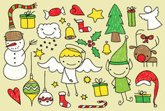 Kids christmas doodle Royalty Free Stock Images