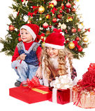 Kids with Christmas gift box. Royalty Free Stock Photos