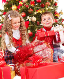 Kids with Christmas gift box. Children with gift box near Christmas tree. Isolated Stock Image