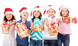 Kids with Christmas presents Stock Photo
