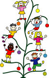 Kids on the Christmas tree Stock Photos
