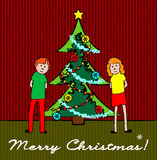 Kids with Christmas tree Stock Photography