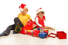 Kids with Chrostmas presents Stock Photo