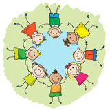 Kids in a circle. Multinational kids holding hands in a circle. EPS8 without transparent and gradients, easy to edit royalty free illustration