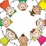 Kids circle. Multinational kids holding hands in a circle isolated on white vector illustration