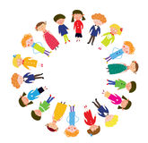 Kids in the circle cartoon. Kids in the circle funny cartoon Royalty Free Stock Photos