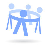 Kids in circle hand in hand logo Stock Photo