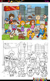 Kids and city coloring book Royalty Free Stock Photos