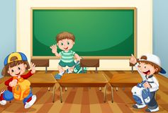 Kids in classroom with books. Illustration stock illustration