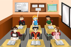 Kids in classroom Stock Photo