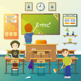 Kids cleaning classroom. Vector illustration Royalty Free Stock Photography
