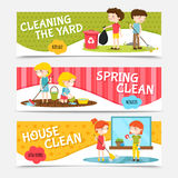 Kids Cleaning Horizontal Banners Stock Image
