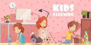 Kids Cleaning Room Cartoon Poster royalty free illustration