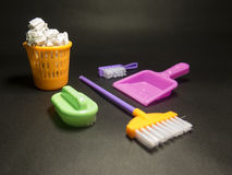 Kids cleaning set with color brushes, bucket and sponges stock image