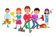Kids cleaning team doing household chores. Boys and girls cleaners working with mop, broom, vacuum, water buckets. Walking towards viewer. Colorful flat style Stock Image