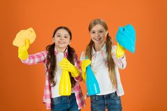 Kids cleaning together. Nice and tidy. Girls with mist spray and rag ready for cleaning. Household duties. Little helper. Girls cute kids love cleaning around royalty free stock images