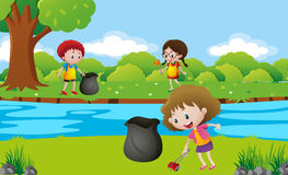 Kids cleaning up the park. Illustration Stock Image