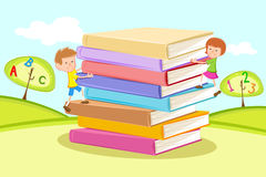 Kids climbing Pile of Books Royalty Free Stock Photography