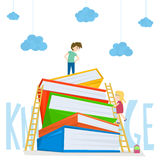 Kids climbing on stairs to the large stack of books. Illustration of kids education. Vector illustration. Stock Images