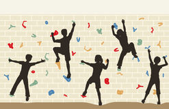 Kids climbing wall. Editable vector illustration of children silhouettes on a climbing wall Stock Images