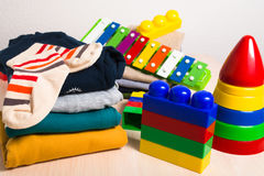 Free Kids Clothes And Toys Royalty Free Stock Photography - 88173707