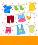 Kids clothes. Illustration of cute kids clothes Stock Photo