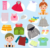 Kids and clothes Stock Images