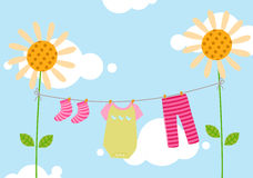 Kids clothesline Royalty Free Stock Images