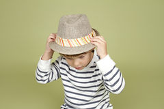 Kids Clothing and Fashion: Expressive Child with Fedora Hat Royalty Free Stock Image