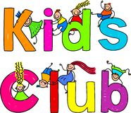 Kids club. Cute children climbing over the words KIDS CLUB Stock Photography