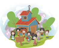 Kids club house. Cute happy cartoon kids in front of wood club house Royalty Free Stock Image