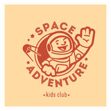 Kids club logo with happy astronaut. Cute kindergarten sign. Stock Photos