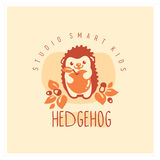 Kids club logo with hedgehog. Cute kindergarten sign. Stock Photo