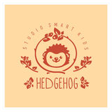 Kids club logo with hedgehog. Cute kindergarten sign. Royalty Free Stock Photo