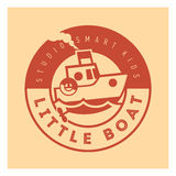 Kids club logo with little boat. Cute kindergarten sign. Stock Images