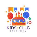 Kids club logo original, colorful creative label template, playground or entertainment club badge with party signs. Vector Illustration isolated on a white stock illustration