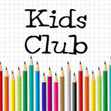 Kids Club Pencils Shows Membership Childhood And Social Stock Photos