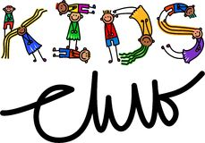 Kids Club Title Text. Happy cartoon little stick girls and boys forming the text title - Kids Club stock illustration
