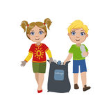 Kids Collecting Garbage Stock Images