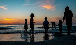 Kids collecting sea shells during sunset at beach stock images