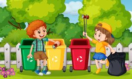 Kids Collecting Trash in Garden vector illustration