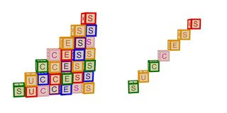 Kids color cubes with letters. Success. For business and life. Stairs. Vector. stock illustration