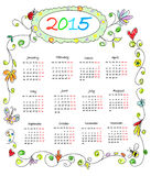 Kids Color Doodles Calendar 2015 Stock Photo