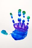 Kids color hand. Kids messy hand print with mixed colors Stock Images