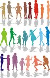 Kids color silhouettes. 22 color illustrations of children, girls and boys Royalty Free Stock Image
